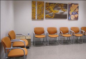 Gray Urgent Care sub-waiting furniture provided by Workspace Interiors Inc.