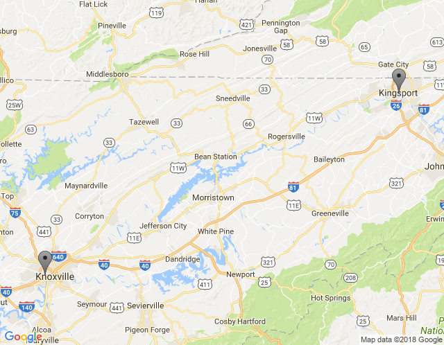 Map of tri-cities, tn