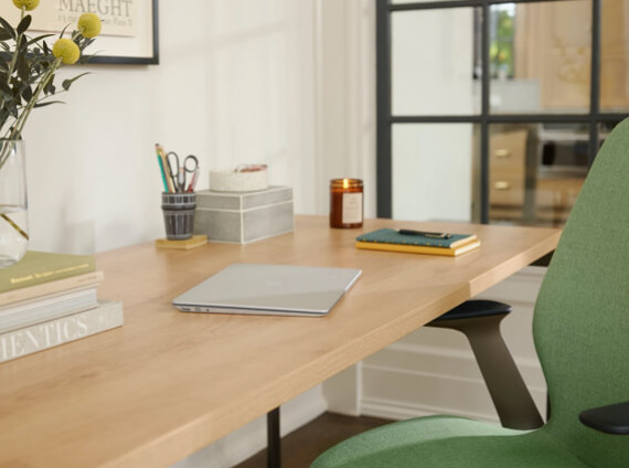 photo of a Steelcase chair and desk