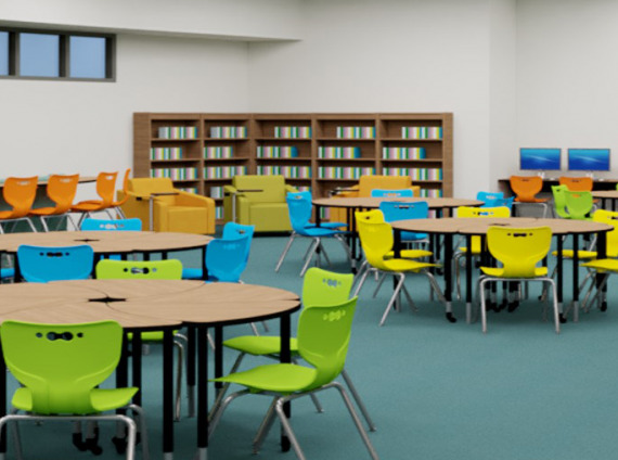 Wartburg TN Central High School library rendering by Workspace Interiors Inc.